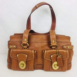 Coach Tobacco Brown and Gold Satchel Purse